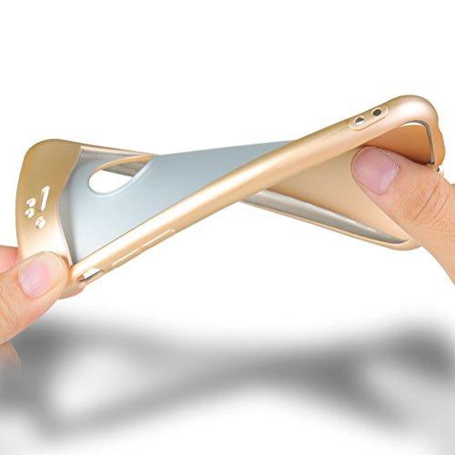 HICASER iPhone SE Full body Coque, Matte Finish Anti-dérapante Étui Ultra Léger TPU Case 360 Degres + Protection en Verre Trempé pour iPhone 5 / 5s Noir Or