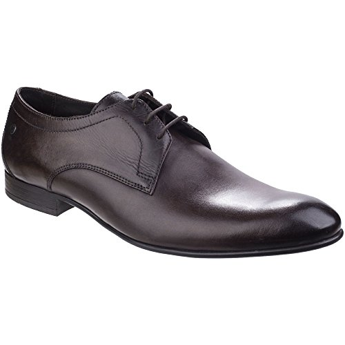 Base London Mens Elgar Smart Vintage Washed Leather Derby Style Shoes Brown