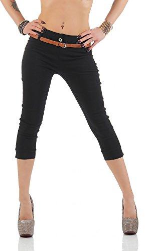 Damen Chino Stoffhose Bermuda Capri Hose Sommerhose Boyfriend Shorts inkl. Gürtel ( 493 ), Grösse:S / 36, Farbe:Schwarz