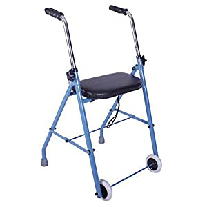 Adult walking frame with two wheels and padded seat