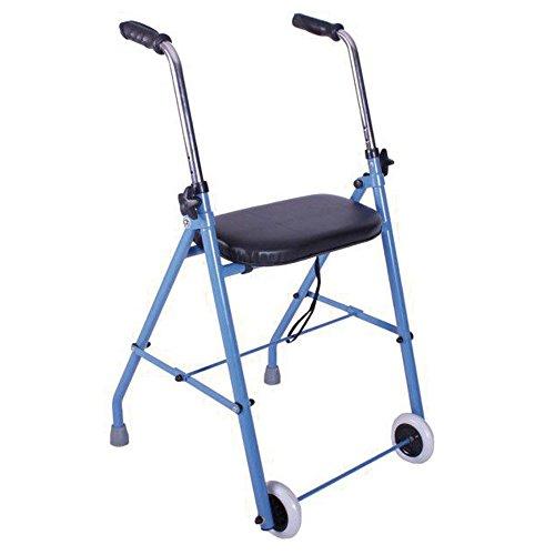 Andador de adulto con dos ruedas y asiento acolchado