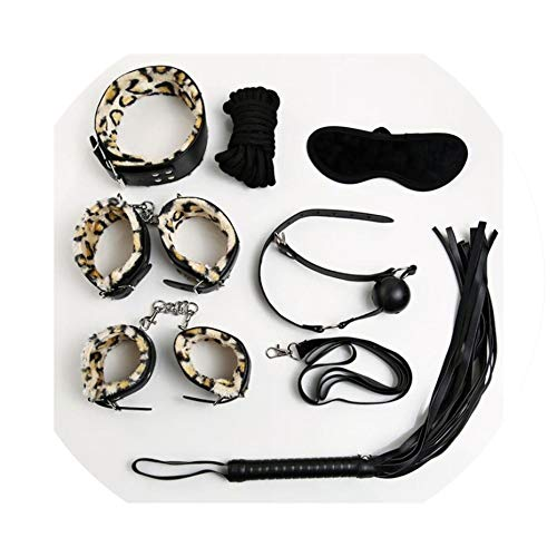ys Lowest Price Leather Fetish Game Toy Kit Couples Women Bondage Restraint Set: Handcuff Whip Nipple Clamps Gag,7pcs6 ()