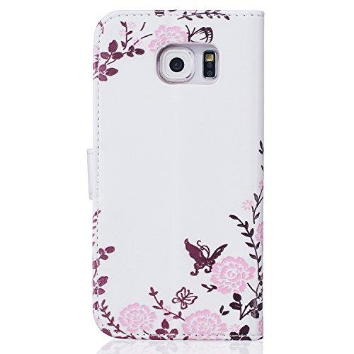 Coque Galaxy S6, Etui pour Samsung Galaxy S6, ISAKEN Peinture Style Soulagement de la couleur PU Cuir Flip Magnétique Portefeuille Etui Housse de Protection Coque Étui Case Cover avec Stand Support et Papillon de fleurs
