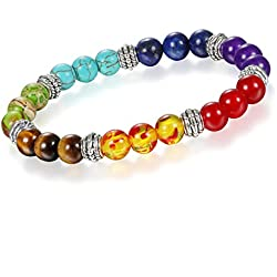 Young & Forever D'vine Collection 7 Chakras Gemstone Crystal Reiki Healing Beads (8-9mm) Unisex Strand Bracelet (B55415) diwali Gift special