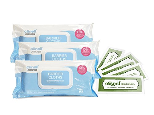 3-x-clinell-barrier-cloths-with-5-x-oqard-antibacterial-microwavable-wipes