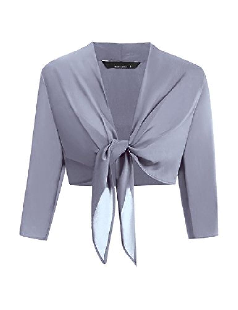 Frauen-Dame Spitze Langärmlig Ausschnitt Bolero Schulterjäckchen Jacke Oberteil