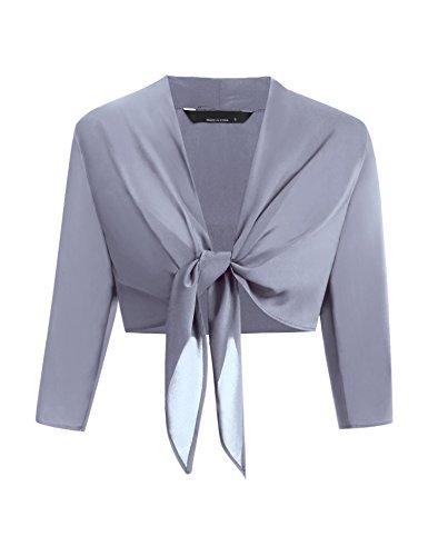 Chigant Damen Chiffon Bolero Schulterjacke einfarbig kurz Cardigan zum Knoten 3/4 Ärmel Casual Festlich
