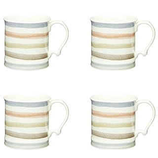 KitchenCraft Classic Collection Vintage-Style Ceramic Tankard Mugs, 350 ml (Set of 4)