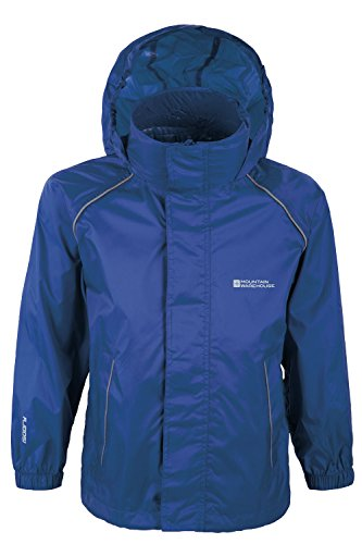 Mountain Warehouse Pakka Kids Waterproof Foldable Jacket Pack Away Mac Rain Coat Navy 9-10 years