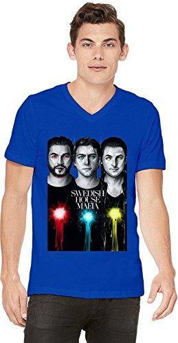 Swedish House Mafia Illustration T-shirt con scollo a V da uomo Men V-Neck T-Shirt Stylish Fashion Fit Custom Apparel By Genuine Fan Merchandise Medium