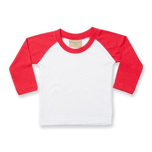 Larkwood Baby T-Shirt Baseball, langarm (6-12 Monate) (Weiß/Rot) (Shirt-kollektion 8)