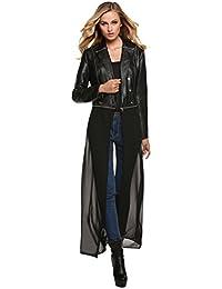 FINEJO Lady Women Slim Biker Soft PU Leather Zipper Jacket Coat Short Outwear