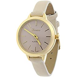 Women's Geneva Japanese Movement Stainless Steel Back Beige/Gold-Tone Faux Leather Slim Band Watch