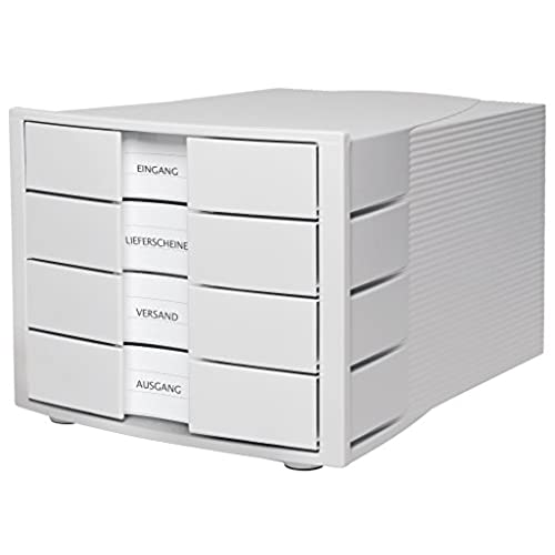 HAN 1010 X 11 IMPULS Drawer Set Innovative Attractive Design Of With Large Inscription Label Und 4 Closed Drawers Light Grey