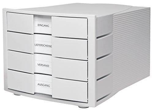 HAN Schubladenbox IMPULS 1010-X-11 in Lichtgrau – Moderne & elegante Papierablage mit 4 großen Schubladen für DIN A4–C4
