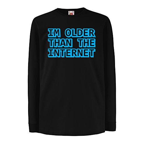 Kinder-T-Shirt mit Langen Ärmeln Ich Bin älter als das Internet lustige Geburtstagsgeschenke Ideen (9-11 Years Schwarz Blau)