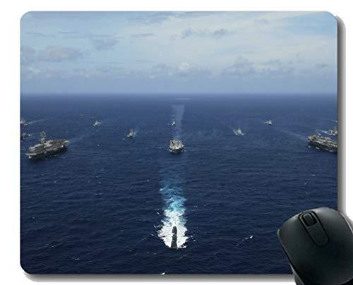 Mauspad mit genähtem Rand, Flugzeugträger-Flotte Marine-U-Boot rutschfestes Gummi-Mousepad