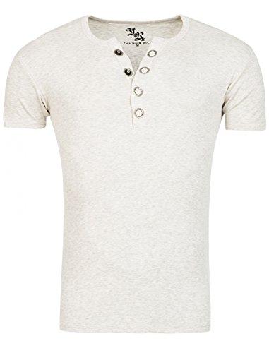 Young&Rich Star Designer T-Shirt Basic Uni Deep V-Neck Knopfleiste Buttons V-Ausschnitt D.G in Verschiedenen Farben, Farbe:Creme;Größe:2XL