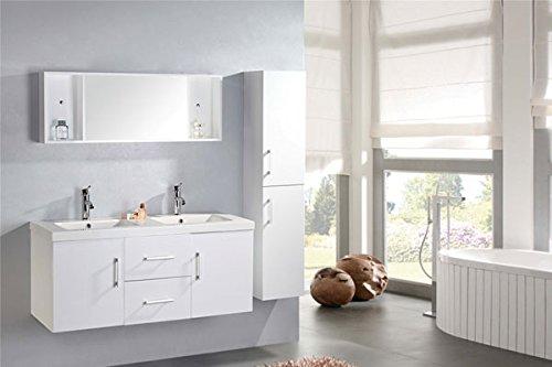 Mobile bagno + colonna completo 120 cm doppio lavabo rubinetti inclusi w mal nuovo imballato mod white malibù