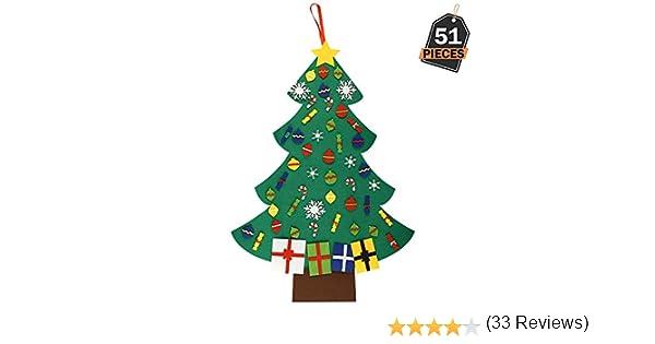 3.28ft Sapin de No/ël D/écoration Vitrine DIY Feutre avec 100 LEDs lumi/ères 28 ornements d/étachables Cadeaux de No/ël pour les enfants No/ël D/écoration Funpa Feutre Arbre de No/ël