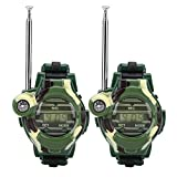 Zerodis Kids Walkie Talkie Watches, 2 Pcs Children Simulation Military Watch Walkie Talkies