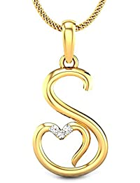 Candere By Kalyan Jewellers S Love 14k Yellow Gold and Diamond Pendant