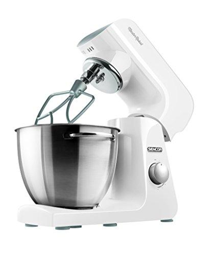 SENCOR STM 40WH Küchenmaschine (1000 Watt, Ganzmetallgehäuse mit Metallzahnrädern, Kneten, Mischen und Schlagen) weiß