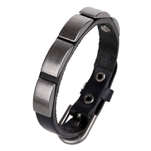 ZHSL Lederarmband Armband Männer Und Frauen Persönlichkeit Lederarmband Nietenkette Surf-Stil Schwarz