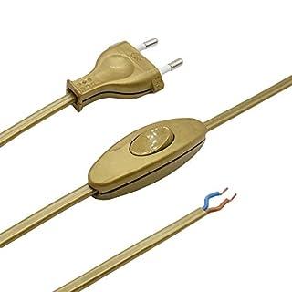 Zuleitung mit Stecker und Schalter 1,50 Meter Gold Anschlusskabel Steckerzuleitung Stromkabel mit Schnurzwischenschalter und Eurostecker 2G 2x0,75qmm 250V G Länge 1500mm