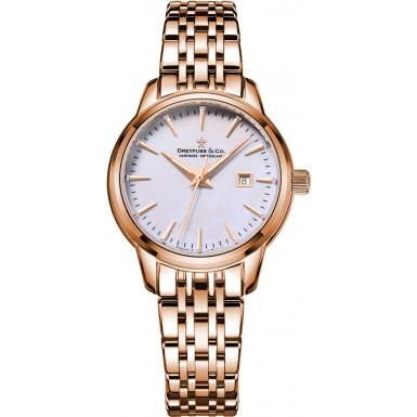 Dreyfuss and Co DLB00129-41 Ladies 1890 Rose Gold Plated Bracelet Watch