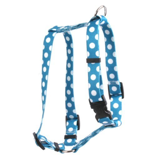 Yellow Dog Design Blueberry Polka Dots 20-Feet to 28-Feet Harness, Large by Yellow Dog Design (Blueberry Large Harness Dog)