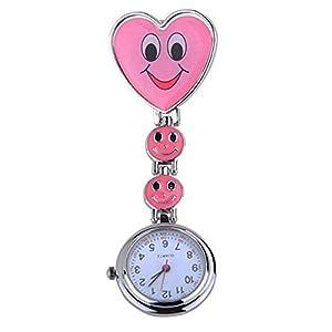 Neue Mädchen Süßes Lächeln Uhr mit Herz-Anhänger Krankenschwester Uhr Schwester Taschenuhr schönes Geschenk Rosa
