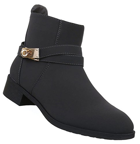 Damen Stiefeletten Schuhe Leicht Gefütterte Boots Dunkelblau Grau Braun 36 37 38 39 40 41 Dunkelgrau