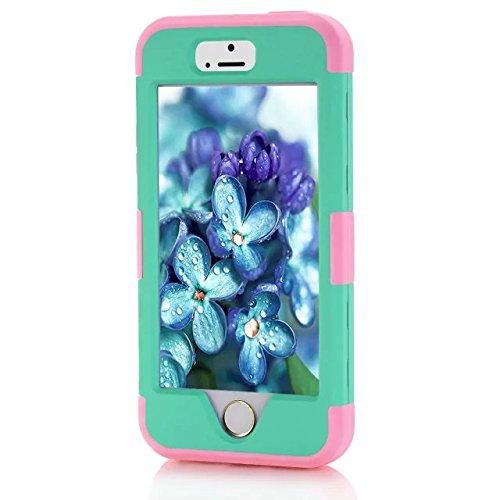 iPhone 5S Fall Süßigkeit-Farben-Series -Lantier Hybrid von weichen Silikon-Interior und Exterior harte PC Schild Schlank Leichte, stoßfest Ganzkörper-Schutzhülle für das iPhone 5, iPhone 5S Light Gold Hot Pink+Mint Green