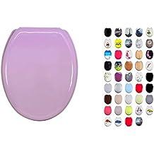 MSV 140017 - Asiento de inodoro con sujeción de acero inoxidable (madera DM, 42,5 x 36,5 x 1,6 cm), color rosa claro