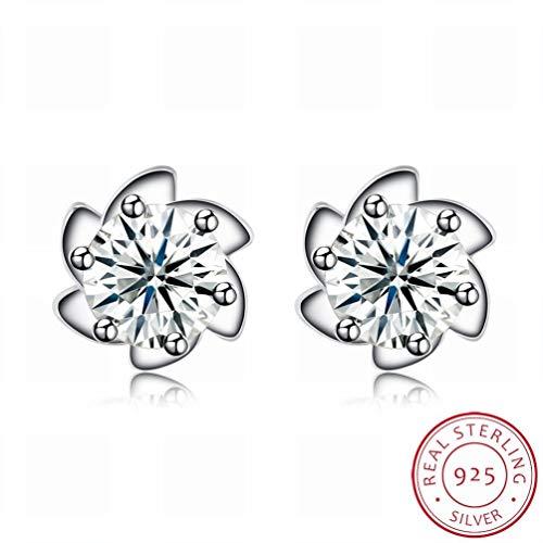 W-E Fashion Trend Ohrringe Frau Silber Fashion Ohrringe/Edelstahl/Anti-Allergie/Silber Blinken/Diamanten/White Crystal/Klein und Exquisit, Bildfarbe -