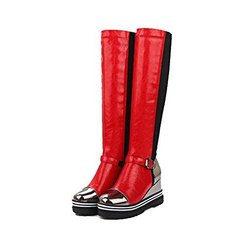 VogueZone009 Damen Mittler Absatz Gemischte Farbe Ziehen auf Blend-Materialien Rund Zehe Stiefel, Rot, 42