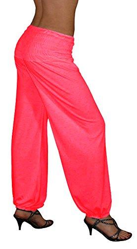 S&LU Gorilla-Star tolle Damen-Umstandshose Haremhose mit breitem weichem Gummibund in tollen Farben (Einheitsgröße XL-5XL, Neon-Koralle) (Farbe Gorilla Kostüm)
