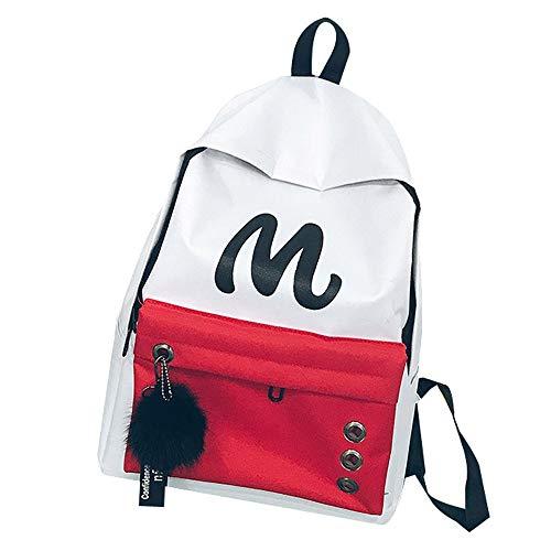 foreverH Schultertasche FORH Unisex Leinwand Einfache Rucksäcke Daypack mit Laptopfach Freizeitrucksack Schulrucksack Brief Drucken Patchwork Outdoor Bag -