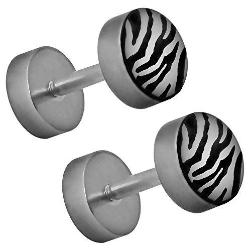 Zebra Armband (tumundo 2 Ohr-Stecker Fake-Plugs Fake-Tunnel Piercing Hantel Ohrring Leo Leopard Zebra Animal-Print Muster 6mm Edelstahl, Farbe:zebra weiß)