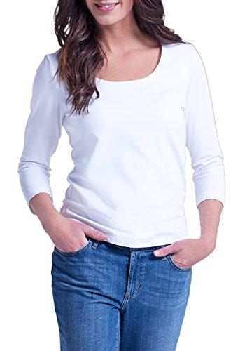 Eddie Bauer Damen Shirt mit 3/4-Arm, Gr. S (34/36), Weiß