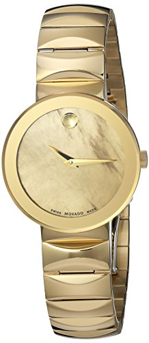 Movado Sapphire Femme 26mm Bracelet Acier Inoxydable Doré Quartz Montre 607049