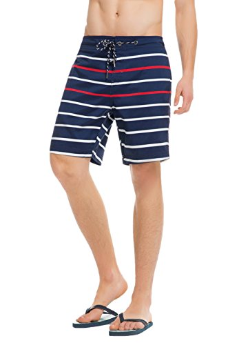 Sundayrose Herren Badeshorts Sommer Badehose Streifen Strand Shorts Boardshorts Blau