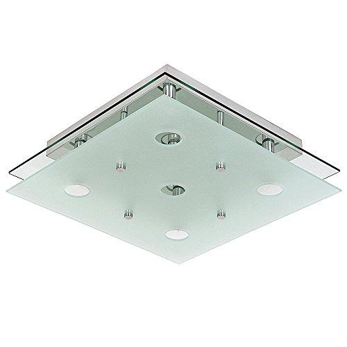 Bakaji lampada da soffitto, plafoniera quadrata in metallo cromato e vetro satinato, stile moderno, classe a++, 38 x 38 x 7 cm, multicolore