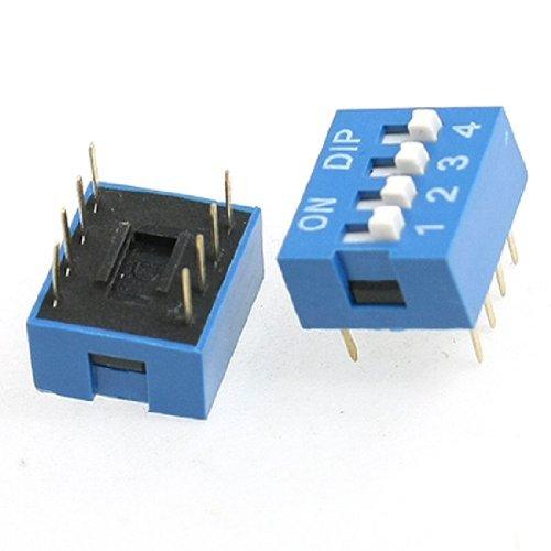 DealMux 10 Stück 2 Zeile 8 Pin 4P Positionen 2,54 mm Pitch DIP-Schalter Blau