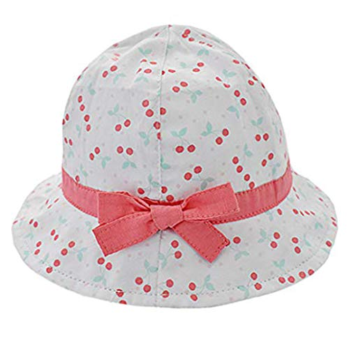 Boomly Baby Mädchen Sonnenhut UV-Schutz Baumwollmütze Kirsche Drucken Becken Kappe Fischerhut Schirmmütze Babymütze für Kinder von 0-5 Jahren (Rosa, 4-10 Monate) - Ausgestattet 1 2 Hüte Größe 8