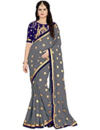Vaidehi Fashion Georgette Saree With Blouse Piece (Eww_10660_Blue_Free Size)