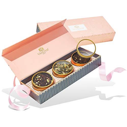 Vahdam, confezione regalo per tè assortiti - blush - 3 tè confezione regalo per campionatore di tè | ingredienti naturali al 100% | idee regalo san valentino | san valentino per lei