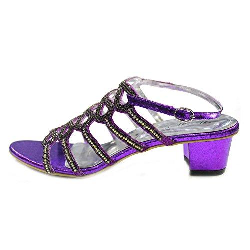 W & W Frauen Damen mit rutschfester über Block Absatz Hochzeit Party Abendkleid Brautschmuck Schuhe Sandalen Size4–10(Rivo) Violett