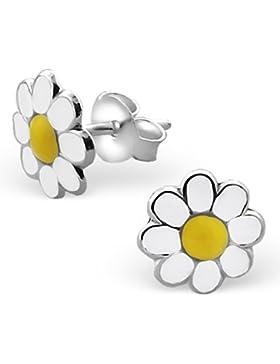 JAYARE Kinder-Ohrstecker Gänseblümchen 925 Sterling Silber Emaille 8 x 8 mm weiß gelb Ohrringe